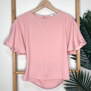 Zara Pink Flutter Sleeve Top Blouse S 6-8